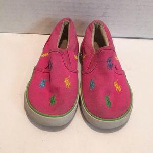 POLO Ralph Lauren Pink Slip On Sneaker GIRL Sz 9